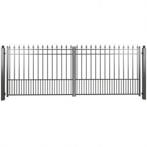 Black powder coated steel driveway gate