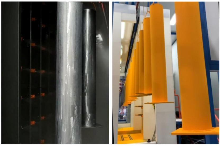 Pre treatment and powder coating for bollards